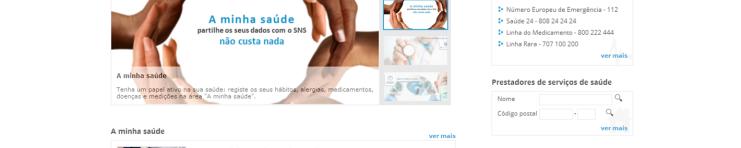 Imagem da homepage do Portal do Utente